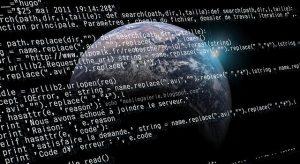 programming code overlaying earth