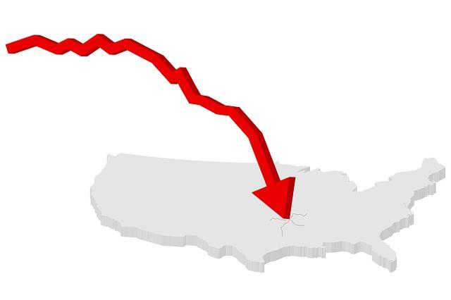 Declining Arrow, Represents Failing trend and recession