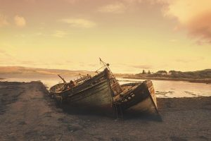 Two boats Stranded and Beached