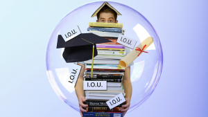 student in a bubble of debt